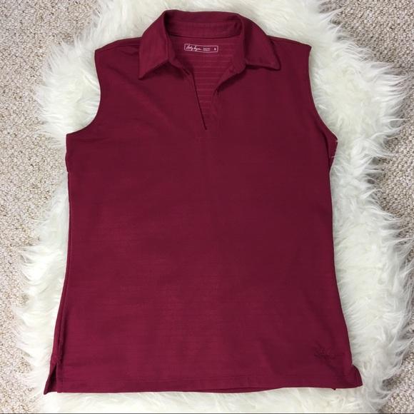 e576682c936d4f Lady Hagen Tops - Lady Hagen sleeveless magenta golf polo stripes